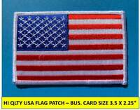 """USA AMERICAN FLAG EMBROIDERED PATCH IRON-ON SEW-ON WHITE BORDER (3½ x 2¼"""")"""