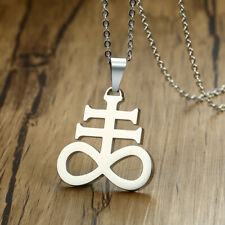 Silver Men Necklace Pendant Chain Church Satanic Inverted Crucifix Cross Jewelry