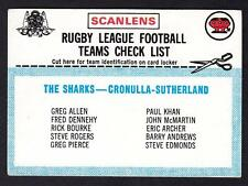 SCANLENS 1977 CRONULLA  CHECK LIST UNMARKED