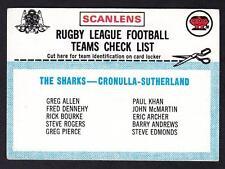 SCANLENS 1977 CRONULLA  CHECK LIST UNMARKED
