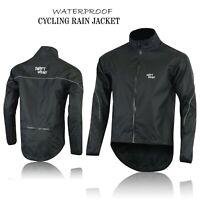 Mens Cycling Waterproof Rain Jackets High Visibility Running Top Coat All Black