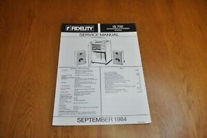Fidelity IS 700 Stereo Music System Part no 44848 Genuine Service Manual