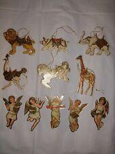 Carousel Animal Angel Christmas Ornaments, 1981 Merrimack lot of 11 vintage pc
