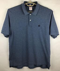 Brooks Brothers Performance Mens Polo Golf Shirt Large L Blue Cotton SS EUC