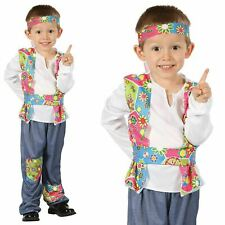 Boys Hippy Boy Toddler Costume for Hippie 60s 70s Fancy Dress Flower Power