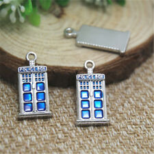 5pcs tardis Charms Silver tone doctor who blue police box Charm pendants 12x27mm
