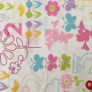 Minnie Mouse Girls Toddler Bed Flat Sheet Flowers Butterflies Numbers Fabric