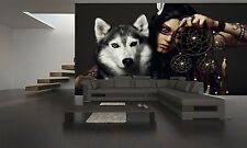 Indian Girl with Huskies Wall Mural Photo Wallpaper GIANT DECOR Paper Poster