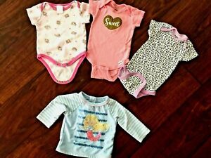 Baby Girls Sz 3-6 months LOT OF 4~ Sun Cover up top ~ 3 bodysuits  +