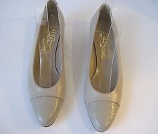 Salvatore Ferragamo Taupe Leather Heels With Snakeskin Cap Toe Size 6 1/2 AA