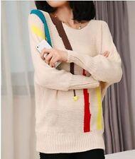 Caldo morbido maglione maglia pullover donna beige girocollo misto lana 4248