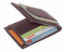 Leather Slim Bifold Card Holder Front Pocket Money Clip Mens Wallet Brown