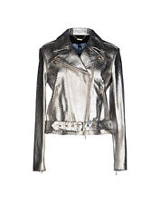 NWT Blumarine Biker Jacket, Silver Leather, size 44 (US8), MSRP $1279