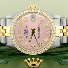 Rolex Datejust 2-Tone Gold/Steel 31mm Womens w/Orchid Pink Dial & Diamond Bezel
