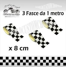 3 FASCE ADESIVE STICKERS SCACCHIERA 100 X 8 CM MOTO AUTO TUNING MOTO RACER