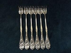 CARNATION Silverplate Seafood Oyster Fork Set 1908 WR KEYSTONE Flatware Lot of 6
