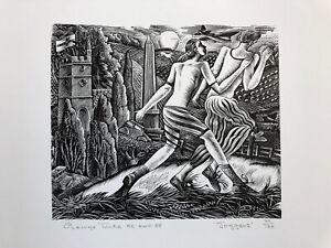"GEORGE TUTE R.E. b1933 Limited Edition WOODCUT ""Joggers"" 77/120"