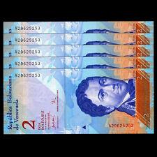 lot 5 PCS, Venezuela 2 Bolivares, 2012/2013,  P-88, UNC