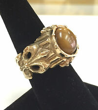 Vintage Mens 14K Yellow Gold Tigers Eye Heavy Ring