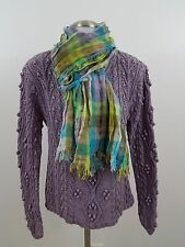 sundance sweater M purple cable knit silk blend long sleeve v-neck scarf pom pom
