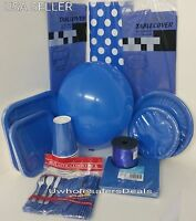 Blue Party Paper Plates Napkins Cups Cutlery Table Covers Balloons Tableware