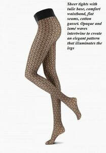 Oroblu weaving net pattern opaque and lamé waves intertwine to create eleganz