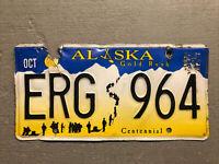 VINTAGE ALASKA LICENSE PLATE GOLD RUSH CENTENNIAL BLUE/WHITE/YELLOW ERG-964.