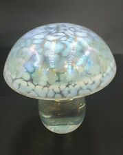 VINTAGE SMALL HERON GLASS MUSHROOM PAPERWEIGHT PALE BLUE IRIDESCENT