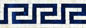 Mosaic Border - Blue Greek Keys Mosaic Borders Mosaic Tile
