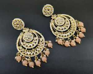 Gold Plated Earrings Set Peach Bollywood Indian Kundan Fashion Jewelry Bridal