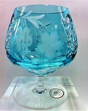 AJKA MARSALA AZURE BLUE CASED CUT TO CLEAR CRYSTAL BRANDY COGNAC SNIFTERS