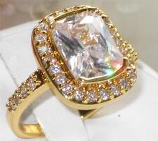 Yellow Gold Plated Cubic Zirconia Solitaire with Accents Costume Rings