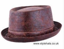 Worn Look Distressed Leather Look Pork Pie Hat Brown Sizes Medium and Large