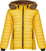 Plus Size Faux Fur Collar Hood Puffer Jacket Long Sleeve Coat Zip Pocket Hood
