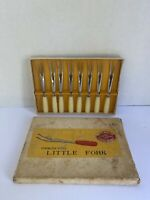 Vintage Stainless Steel Cocktail Appetizer Little Forks set of 8 Made in Japan