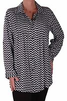 Womens Cotton Zig Zag Stripe Pattern Long Sleeve Flat Collar Shirt Blouse Tops