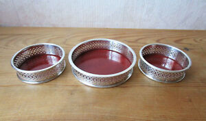 Un Coasters Bottle And 2 Coasters Glass Solid Silver Spanish Rosewood