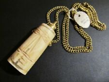 VtG Pendant Necklace Snuff Bottle Carved Face on Brass Chain Made in India