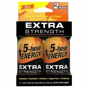 5-Hour Energy Extra Strength Peach Mango Shot Drink 2 Pack Exp 11/21 Sugar Free