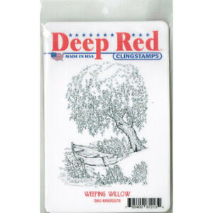 Deep Red Stamps Weeping Willow Rubber Cling Stamp