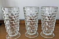 "Set of 3 Vintage Whitehall Colony Clear Cubist 6"" Footed Iced Tea Tumblers"