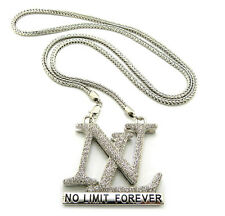 """NEW ICED OUT NEW NO LIMIT FOREVER PENDANT & 36"""" 4mm FRANCO CHAIN.."""