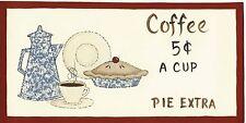 "4x10"" COFFEE 5C Retro primitive Country Kitchen Wood Wall farmhouse Decor Sign"