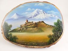 Vintage Armenian Mountain Castle Church Landscape Souvenir Oil Painting on Wood