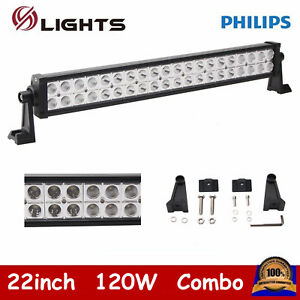 "120W 22"" Led Work Light Bar Combo Lamp Offroad Driving Lamp Atv Ute Suv 4WD 24"""