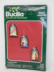 Bucilla Jeweled Stitchery Ornament  Kit A CHILD IS BORN Christmas 48994 Set of 3