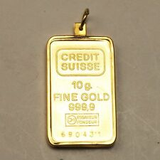 10 Grams Credit Suisse 999,9 Fine Gold Ingot with Removable 14K Frame Charm
