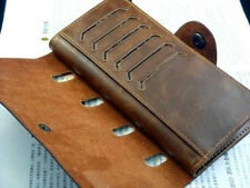 Mens Long Leather Wallet Pockets ID Credit Card Holder Clutch Bifold Purse Brown