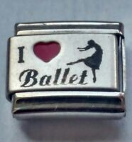 I Love Heart BALLET Dance Italian Charm Fits Classic Bracelet Charms Link