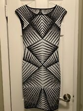MARC CAIN Black And Ivory Stretch Cap Sleeve Dress Size 1 ?
